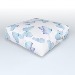 Lilac aqua blue watercolor hand painted butterfly Outdoor Floor Cushion