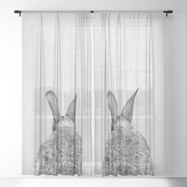 Rabbit Tail - Black & White Sheer Curtain