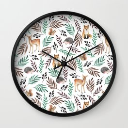 Cute forest. Watercolor Wall Clock