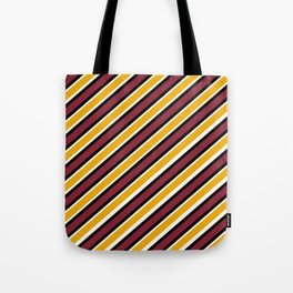 TEAM COLORS 1…Maroon Gold black and white diagonal stripe Tote Bag