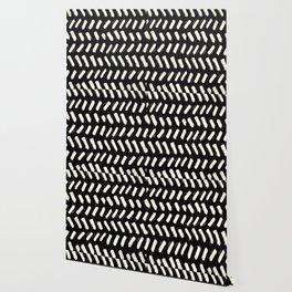 Tribal Dance Dot - Ivory on Black Wallpaper