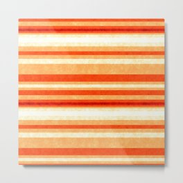 Red Orange Grunge Lines Metal Print
