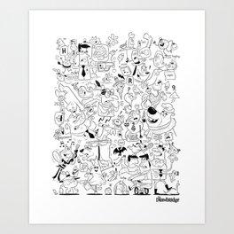 The Drawbridge - Doodle Poster B/W Art Print
