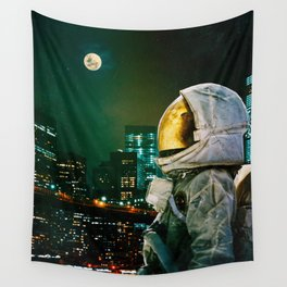 Between The Moon And The City Wall Tapestry