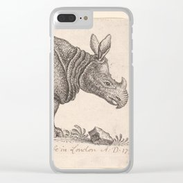 Vintage Rhino Clear iPhone Case