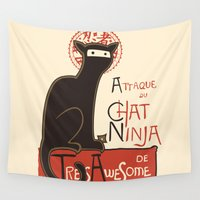 noir Wall Tapestries featuring A French Ninja Cat (Le Chat Ninja) by Kyle Walters