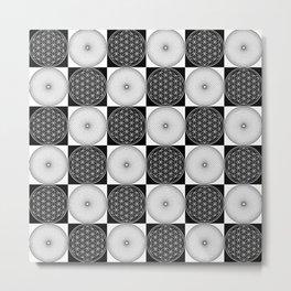 Black & White Flower of Life Patchwork Design Metal Print