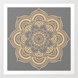 Mandala Flower Gray & Peach Art Print