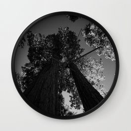 black and white staring straight up at giant sequoias Wall Clock