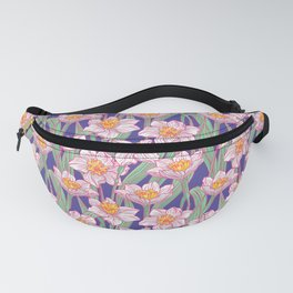 Blue pattern with white Narcissus Daffodil  Fanny Pack
