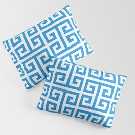 Bright Blue and White Greek Key Pattern Pillow Sham