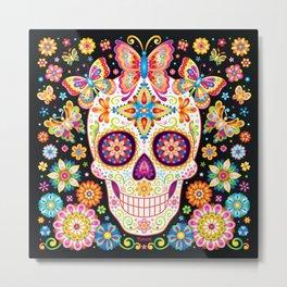 Sugar Skull Art - Sugar Skull with Butterflies and Flowers by Thaneeya McArdle Metal Print