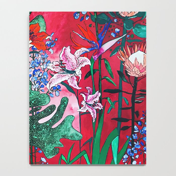 Ruby Red Floral Jungle Notebook