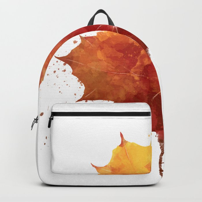 Autumn leaf watercolor painting Backpack