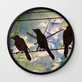 Three Birds on the Line Wall Clock