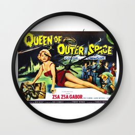 Queen of Outer Space, vintage sci-fi movie poster Wall Clock