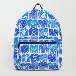 Ugly Hanukkah Sweaters Funny Holiday Pattern Blue Backpack
