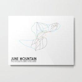 June Mountain, CA - Minimalist Winter Trail Art Metal Print