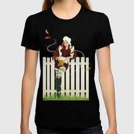 Thanksgiving Day. Beautiful pilgrim girl. T-shirt