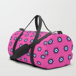 Evil Eye on Pink Duffle Bag