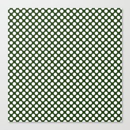 Large White Dots on Dark Forest Green Canvas Print