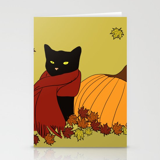 Cascade The Black Cat In Red Scarf With Pumpkin - Fall by melindatodd