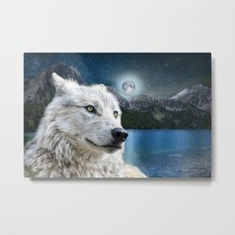 White Wolf and Moonlight Metal Print