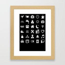 Basic White model: Traveler emoticon help for travel t-shirt Framed Art Print