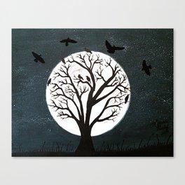 Peaceful Moon Night Gathering Canvas Print