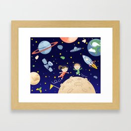Space kids astronauts planets asteroids and spaceships Framed Art Print
