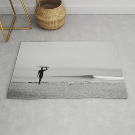 Surf Photography Print, Malibu California, Surf Art, Surf Decor, Black and White Print, Wall Art Rug