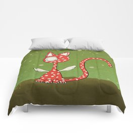 Winged polka-dotted red cat and spring Comforters