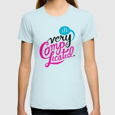 It's Very Complicated Womens Fitted Tee MEDIUM Light Blue