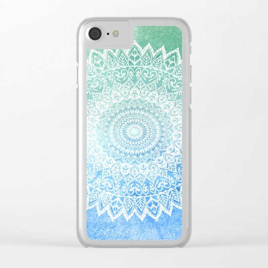 OCEAN PASSION LEAVES MANDALA Clear iPhone Case