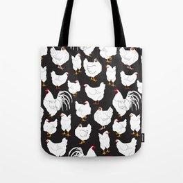 Chickens Barnyard Repeat Pattern Illustration Tote Bag