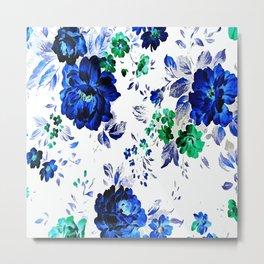 ROSES BLUE VINTAGE PATTERN Metal Print