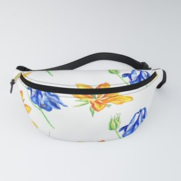Columbine and Lily Hand Painted Diagonally Repeating Floral Pattern Fanny Pack