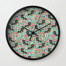 Dachshund dapple coat dog breed floral pattern must have doxie gifts dachsies Wall Clock