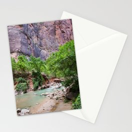 The Narrows | Nature Landscape Photography of Blue Green River Between Mountains in Zion Utah Stationery Cards