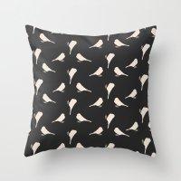 gray pattern Throw Pillows featuring Dark Gray Birds Pattern by Allyson Johnson
