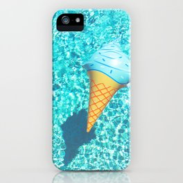 blue ice cream cone float all up in my pool yo iPhone Case