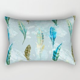 Floating Exotic Feathers Sophisticated Pattern Rectangular Pillow
