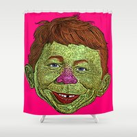 mad men Shower Curtains featuring Alfred E. Newman MAD by CultureCloth