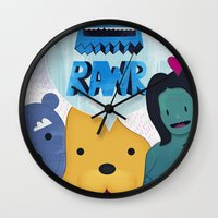 returns Wall Clocks featuring Rawr Returns! by mrbiscuit