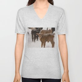 Calves in The Snow Unisex V-Neck