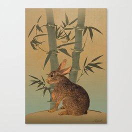 Hare Under Bamboo Tree Canvas Print