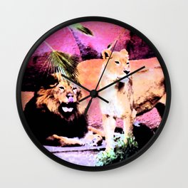 Lounging Lions Wall Clock