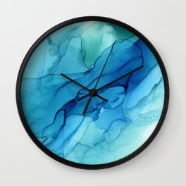 Emerald Sea Waves - Abstract Ombre Flowing Ink Wall Clock
