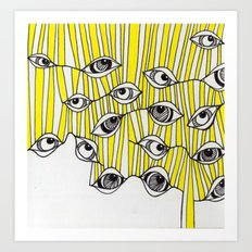 Yellow Stripey Eyes Art Print