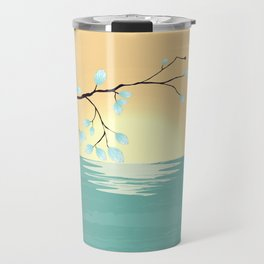 Delicate Asian Inspired Image of Pastel Sky and Lake with Silver Leaves on Branch Travel Mug